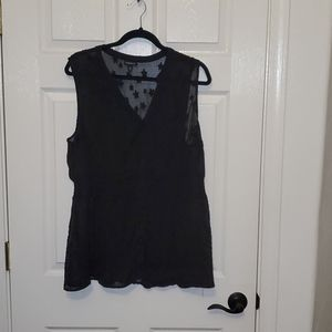 Sheer black star sleeveless top
